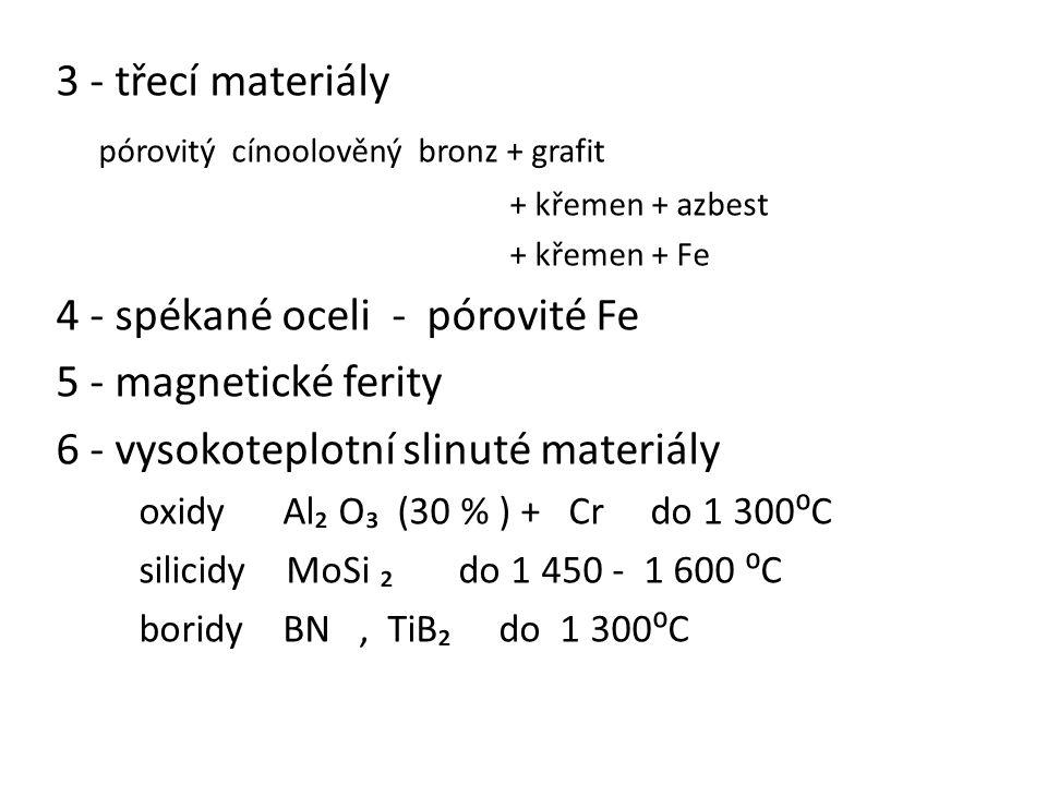 3 - třecí materiály pórovitý cínoolověný bronz + grafit + křemen + azbest + křemen + Fe 4 - spékané oceli - pórovité Fe 5 - magnetické ferity 6 - vyso