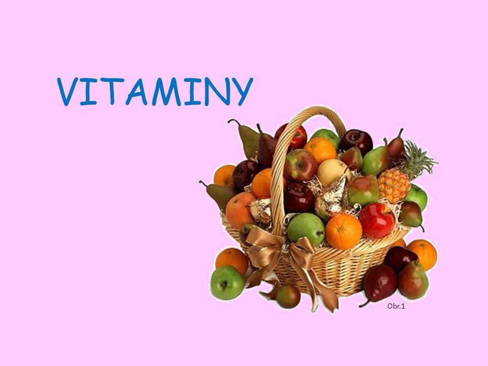 Obr.2 Charakteristika vitaminů složité látky rostlinného původu nezbytná součást potravy usnadňují chemické přeměny v buňkách známo více než 20 hlavních vitaminů nejsou zdrojem energie, fungují jako koenzymy enzymů (biokatalyzátory) ?.