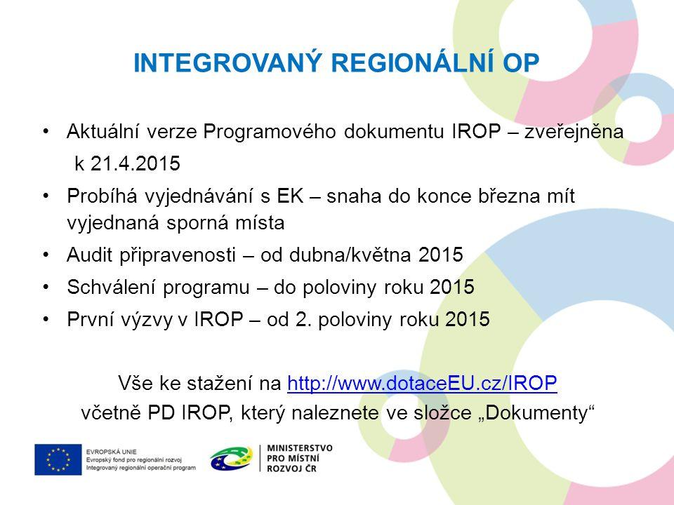 INTEGROVANÝ REGIONÁLNÍ OP Aktuální verze Programového dokumentu IROP – zveřejněna k 21.4.2015 Probíhá vyjednávání s EK – snaha do konce března mít vyj