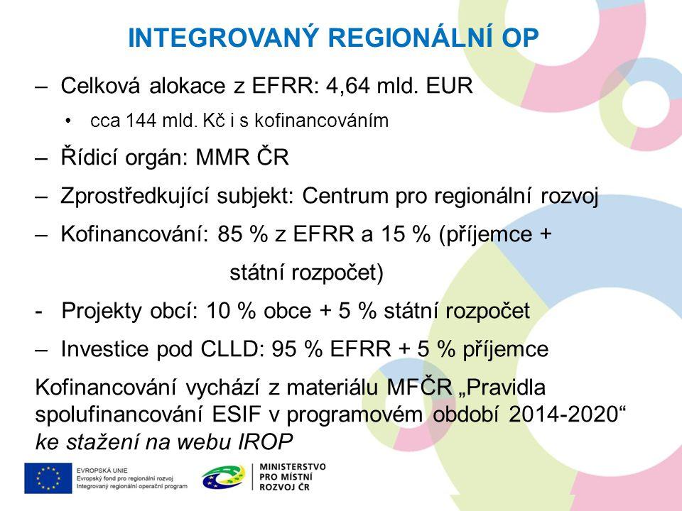 –Celková alokace z EFRR: 4,64 mld. EUR cca 144 mld. Kč i s kofinancováním –Řídicí orgán: MMR ČR –Zprostředkující subjekt: Centrum pro regionální rozvo