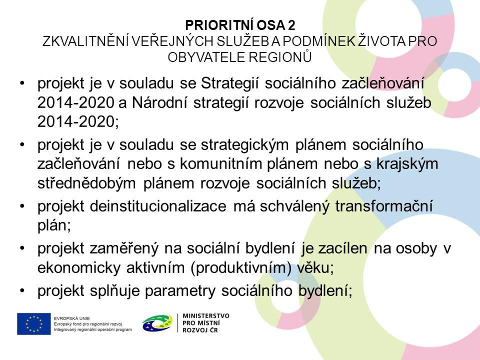 projekt je v souladu se Strategií sociálního začleňování 2014-2020 a Národní strategií rozvoje sociálních služeb 2014-2020; projekt je v souladu se st