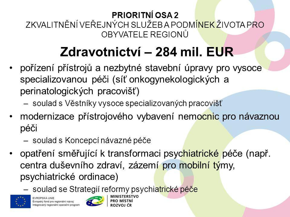 Zdravotnictví – 284 mil. EUR pořízení přístrojů a nezbytné stavební úpravy pro vysoce specializovanou péči (síť onkogynekologických a perinatologickýc