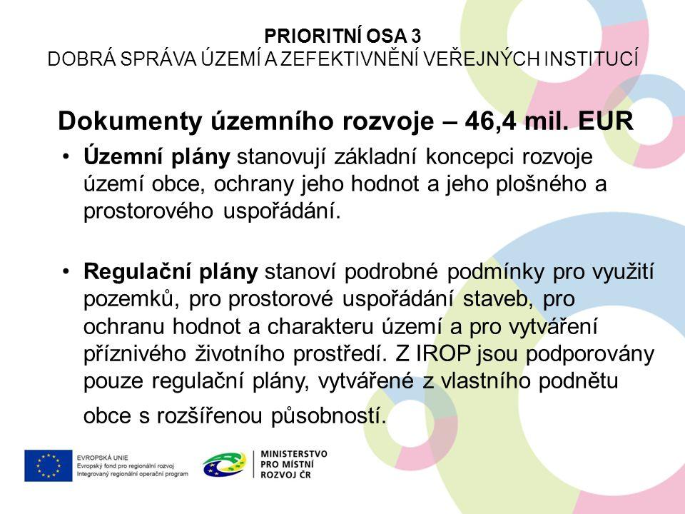 Dokumenty územního rozvoje – 46,4 mil. EUR Územní plány stanovují základní koncepci rozvoje území obce, ochrany jeho hodnot a jeho plošného a prostoro