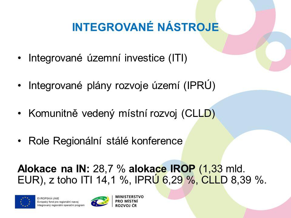 INTEGROVANÉ NÁSTROJE Výhody: –ITI/ IPRÚ zohledňují širší vazby mezi městem a jeho spádovým územím –CLLD - projekty jsou vybírány na místní úrovni –vícefondové financování komplexnějších záměrů Nevýhody: –Podmínkou pro vyhlášení výzvy na realizaci projektů je schválení příslušné integrované strategie.