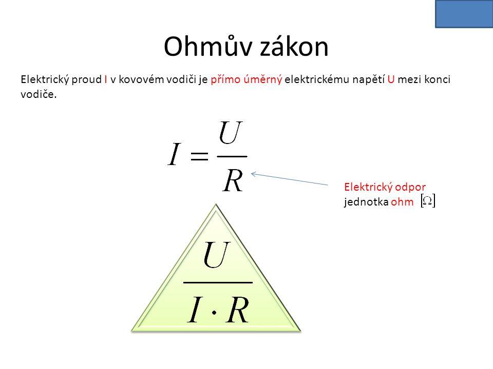 Ohmův zákon Elektrický proud I v kovovém vodiči je přímo úměrný elektrickému napětí U mezi konci vodiče. Elektrický odpor jednotka ohm