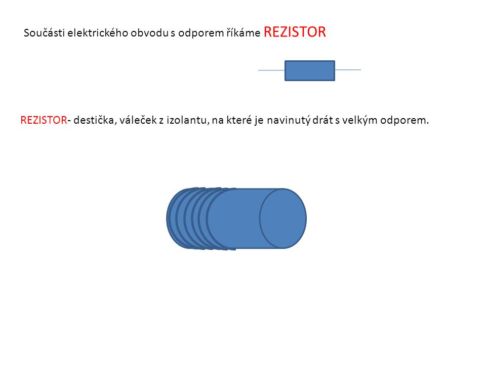 Součásti elektrického obvodu s odporem říkáme REZISTOR REZISTOR- destička, váleček z izolantu, na které je navinutý drát s velkým odporem.