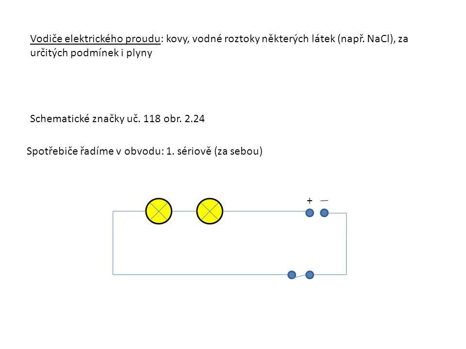 Vodiče elektrického proudu: kovy, vodné roztoky některých látek (např. NaCl), za určitých podmínek i plyny Schematické značky uč. 118 obr. 2.24 Spotře