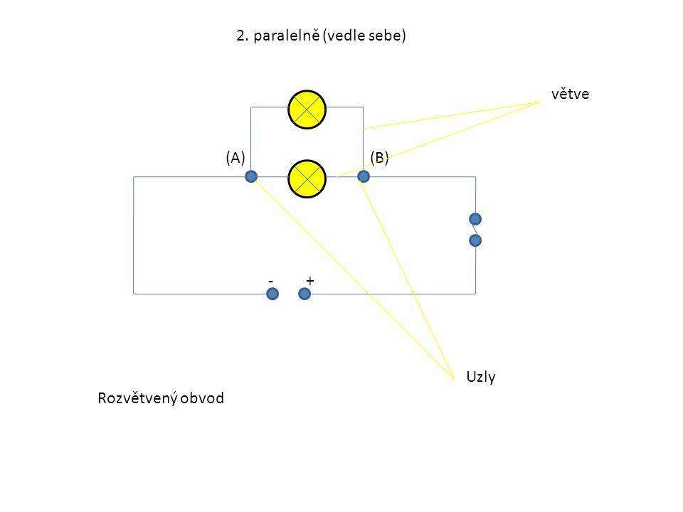 2. paralelně (vedle sebe) +- (A)(B) Uzly větve Rozvětvený obvod