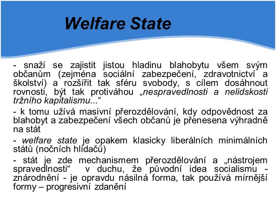 """Welfare State - snaží se zajistit jistou hladinu blahobytu všem svým občanům (zejména sociální zabezpečení, zdravotnictví a školství) a rozšířit tak sféru svobody, s cílem dosáhnout rovnosti, být tak protiváhou """"nespravedlnosti a nelidskosti tržního kapitalismu... - k tomu užívá masivní přerozdělování, kdy odpovědnost za blahobyt a zabezpečení všech občanů je přenesena výhradně na stát - welfare state je opakem klasicky liberálních minimálních států (nočních hlídačů) - stát je zde mechanismem přerozdělování a """"nástrojem spravedlnosti v duchu, že původní idea socialismu - znárodnění - je opravdu násilná forma, tak používá mírnější formy – progresivní zdanění"""
