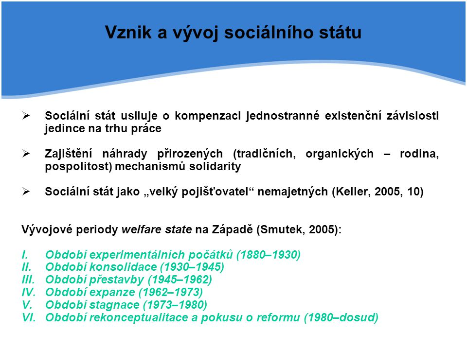 """Vznik a vývoj sociálního státu  Sociální stát usiluje o kompenzaci jednostranné existenční závislosti jedince na trhu práce  Zajištění náhrady přirozených (tradičních, organických – rodina, pospolitost) mechanismů solidarity  Sociální stát jako """"velký pojišťovatel nemajetných (Keller, 2005, 10) Vývojové periody welfare state na Západě (Smutek, 2005): I.Období experimentálních počátků (1880–1930) II.Období konsolidace (1930–1945) III.Období přestavby (1945–1962) IV.Období expanze (1962–1973) V.Období stagnace (1973–1980) VI.Období rekonceptualitace a pokusu o reformu (1980–dosud)"""