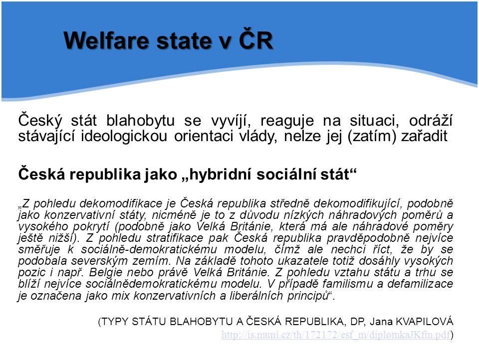 Welfare state v ČR Český stát blahobytu se vyvíjí, reaguje na situaci, odráží stávající ideologickou orientaci vlády, nelze jej (zatím) zařadit Česká
