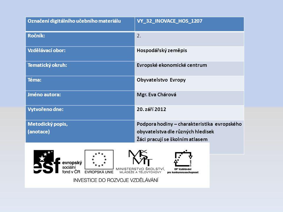 Označení digitálního učebního materiáluVY_32_INOVACE_HOS_1207 Ročník:2. Vzdělávací obor:Hospodářský zeměpis Tematický okruh:Evropské ekonomické centru
