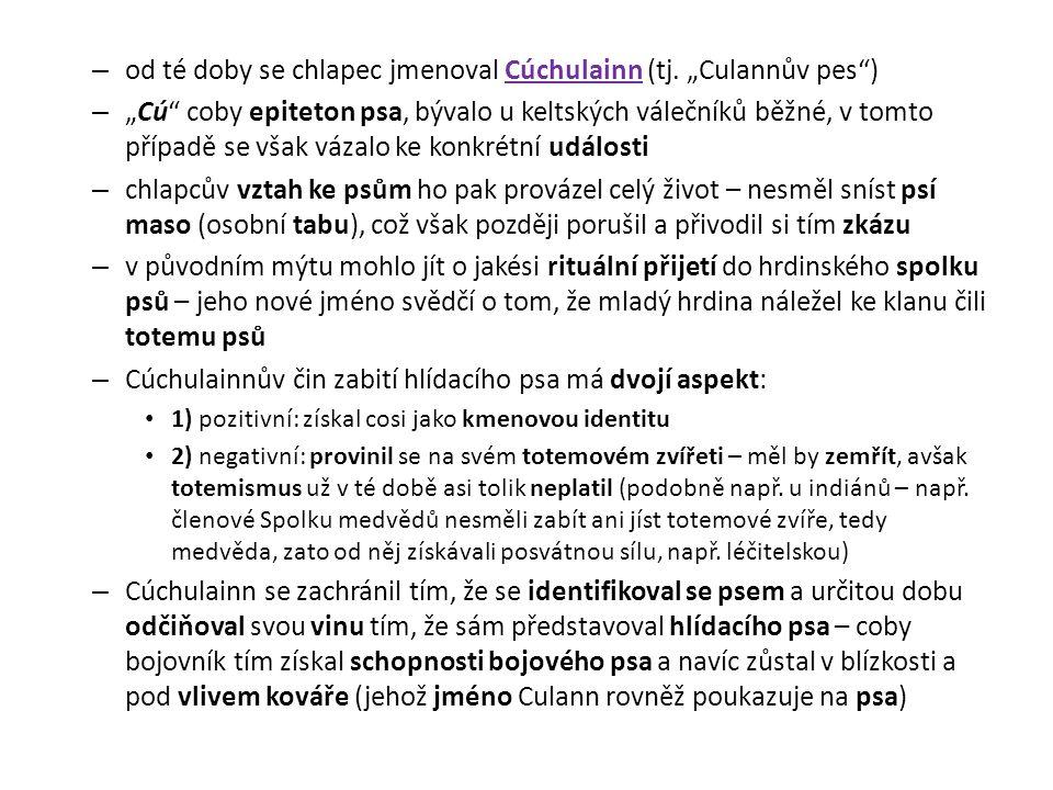 """– od té doby se chlapec jmenoval Cúchulainn (tj. """"Culannův pes"""") – """"Cú"""" coby epiteton psa, bývalo u keltských válečníků běžné, v tomto případě se však"""