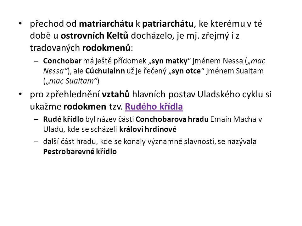 přechod od matriarchátu k patriarchátu, ke kterému v té době u ostrovních Keltů docházelo, je mj. zřejmý i z tradovaných rodokmenů: – Conchobar má ješ