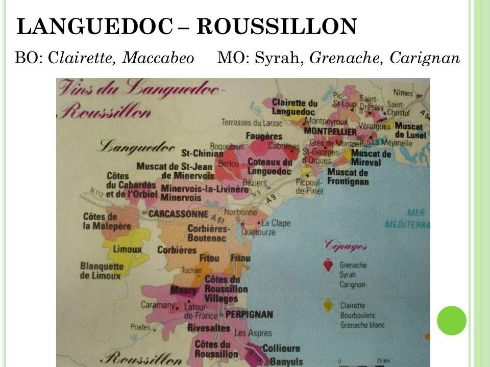 BO: C lairette, Maccabeo MO: Syrah, Grenache, Carignan LANGUEDOC – ROUSSILLON