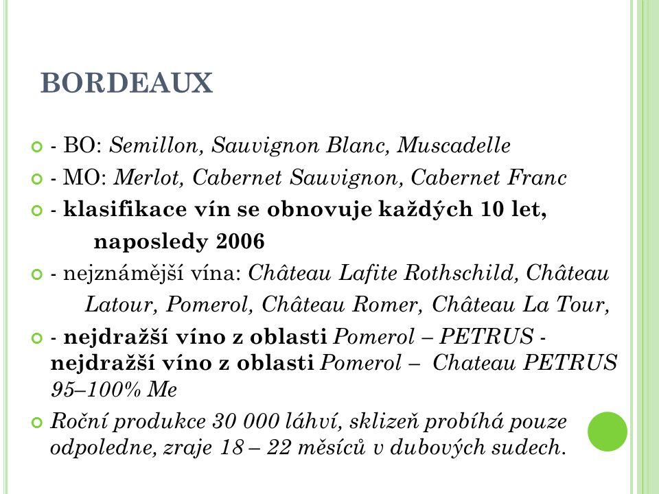 - BO: Semillon, Sauvignon Blanc, Muscadelle - MO: Merlot, Cabernet Sauvignon, Cabernet Franc - klasifikace vín se obnovuje každých 10 let, naposledy 2