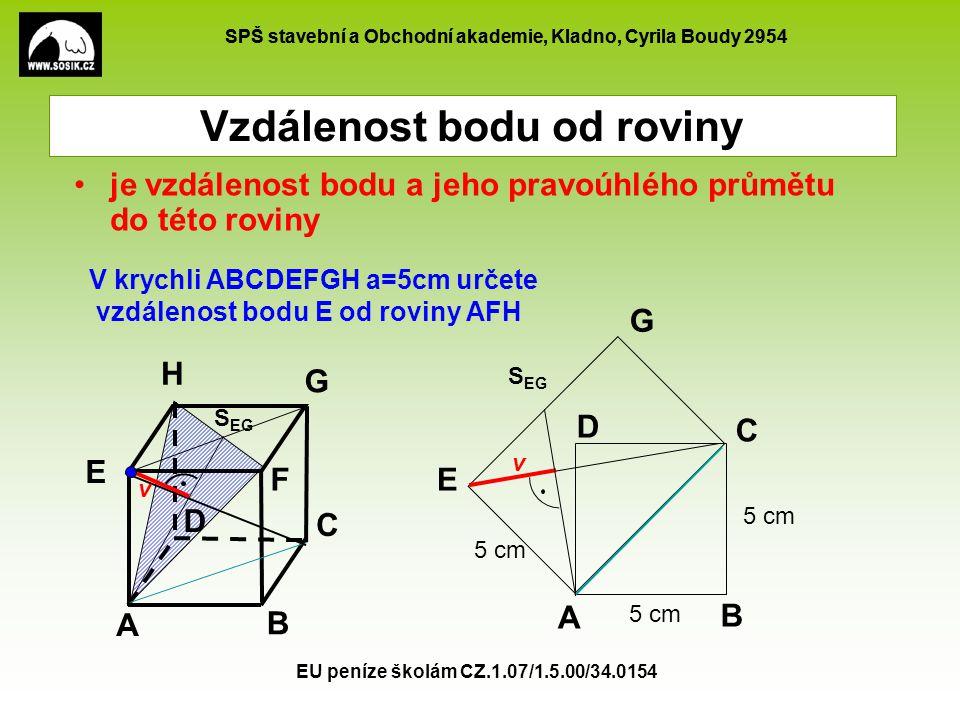 SPŠ stavební a Obchodní akademie, Kladno, Cyrila Boudy 2954 EU peníze školám CZ.1.07/1.5.00/34.0154 Vzdálenost bodu od roviny je vzdálenost bodu a jeh