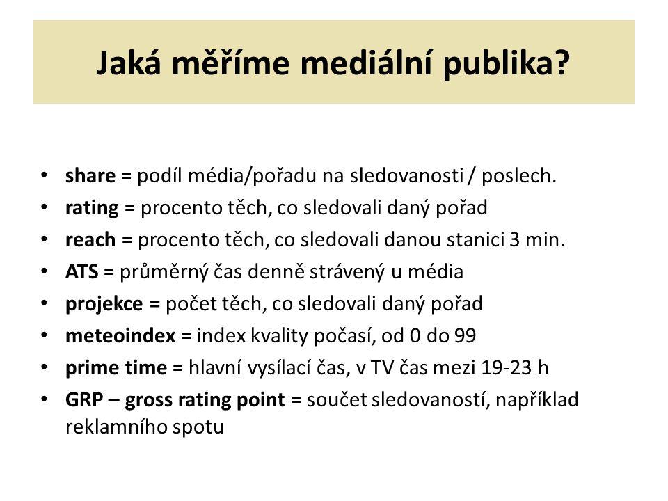 Jaká měříme mediální publika? share = podíl média/pořadu na sledovanosti / poslech. rating = procento těch, co sledovali daný pořad reach = procento t