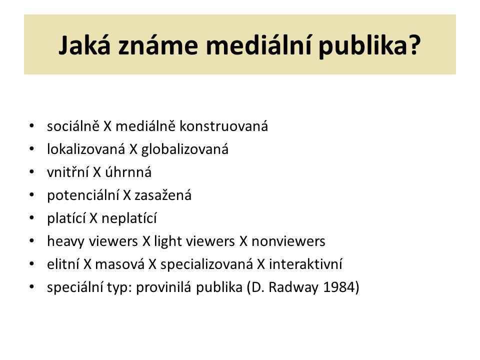 Jaká známe mediální publika? sociálně X mediálně konstruovaná lokalizovaná X globalizovaná vnitřní X úhrnná potenciální X zasažená platící X neplatící