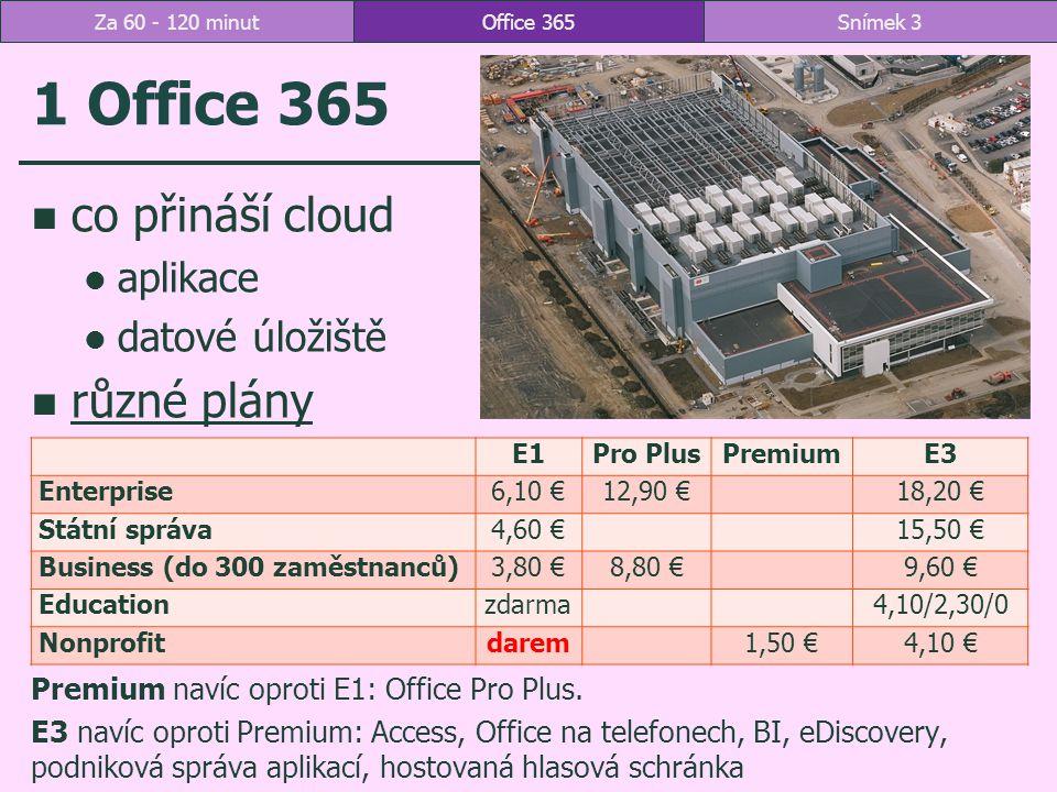 Aplikace v Office 365 Studijní materiály včetně záznamu výuky: http://sp.vse.cz/sites/fak2/office365 Office 365Snímek 4Za 60 - 120 minut
