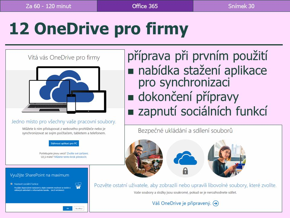 12 OneDrive pro firmy příprava při prvním použití nabídka stažení aplikace pro synchronizaci dokončení přípravy zapnutí sociálních funkcí Office 365Snímek 30Za 60 - 120 minut