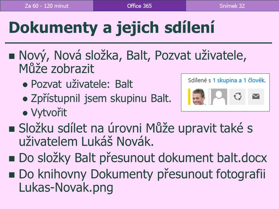 Dokumenty a jejich sdílení Nový, Nová složka, Balt, Pozvat uživatele, Může zobrazit Pozvat uživatele: Balt Zpřístupnil jsem skupinu Balt.