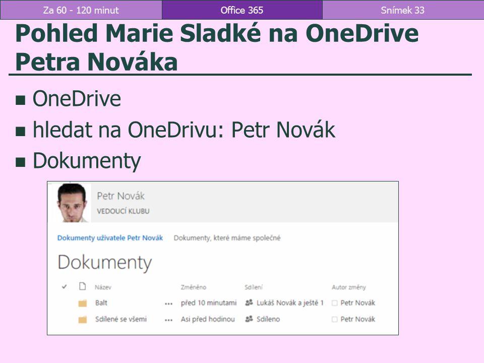 Pohled Marie Sladké na OneDrive Petra Nováka OneDrive hledat na OneDrivu: Petr Novák Dokumenty Office 365Snímek 33Za 60 - 120 minut