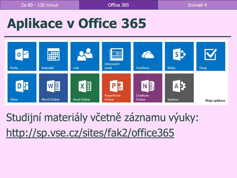 Průběh schůzky Office 365Snímek 55Za 60 - 120 minut