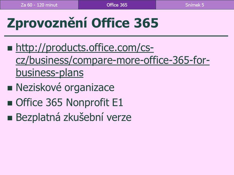 6 Místnosti pro schůzky parametry delegáti maximální doba rezervace ve dnech (jak dlouho dopředu) maximální doba trvání v hodinách tip klubovna Hloubětín Office 365Snímek 16Za 60 - 120 minut