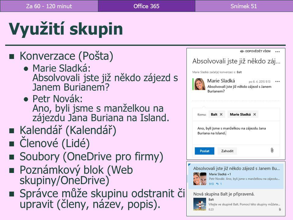Využití skupin Konverzace (Pošta) Marie Sladká: Absolvovali jste již někdo zájezd s Janem Burianem.