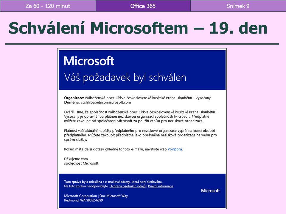 Schválení Microsoftem – 19. den Office 365Snímek 9Za 60 - 120 minut