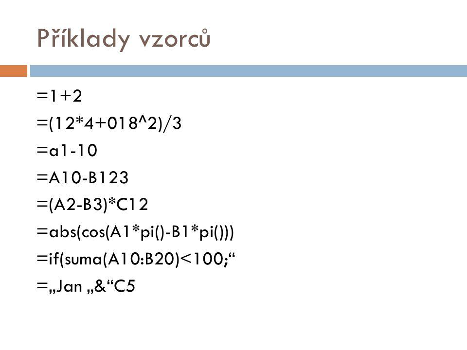 """Příklady vzorců =1+2 =(12*4+018^2)/3 =a1-10 =A10-B123 =(A2-B3)*C12 =abs(cos(A1*pi()-B1*pi())) =if(suma(A10:B20)<100; =""""Jan """"& C5"""