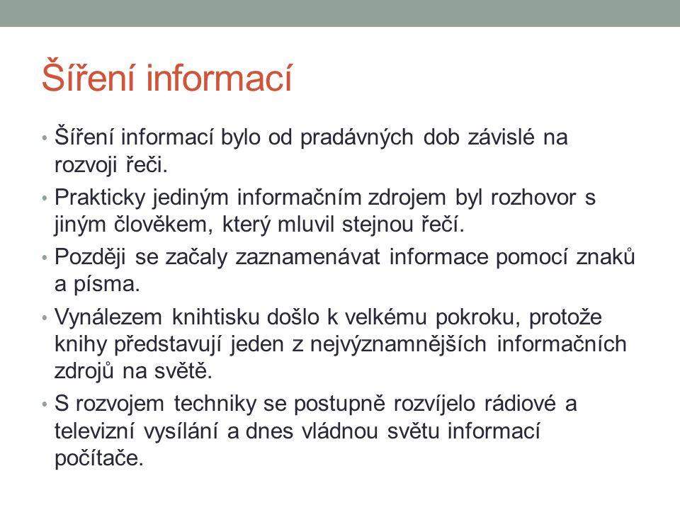 Šíření informací Šíření informací bylo od pradávných dob závislé na rozvoji řeči.