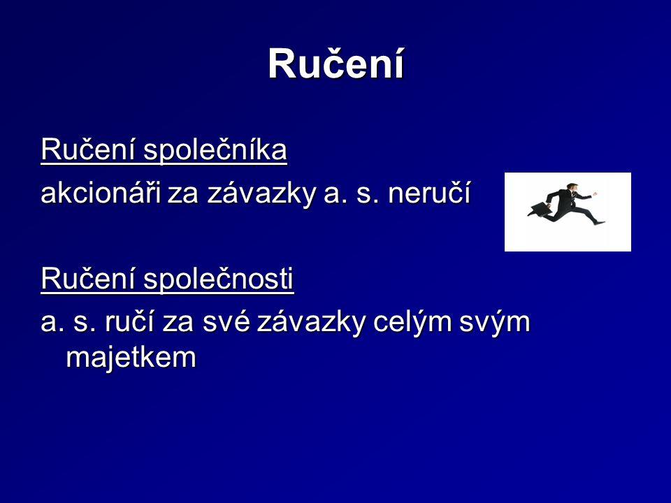 Ručení Ručení společníka akcionáři za závazky a. s.