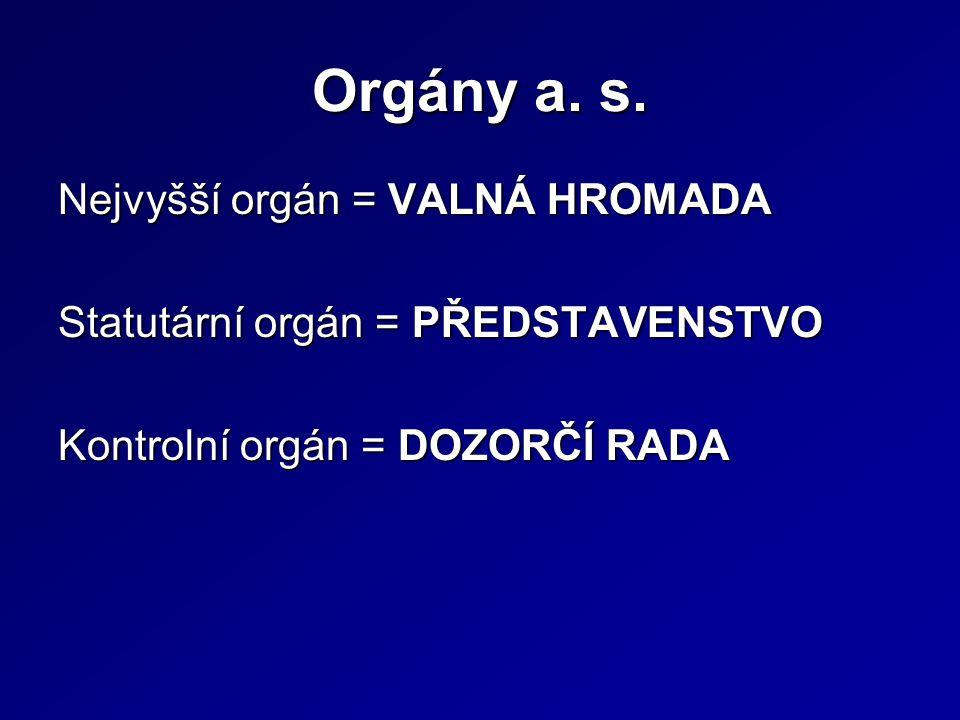 Orgány a. s.