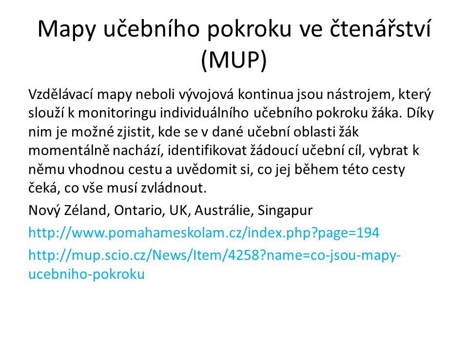 Mapy učebního pokroku ve čtenářství (MUP) Vzdělávací mapy neboli vývojová kontinua jsou nástrojem, který slouží k monitoringu individuálního učebního
