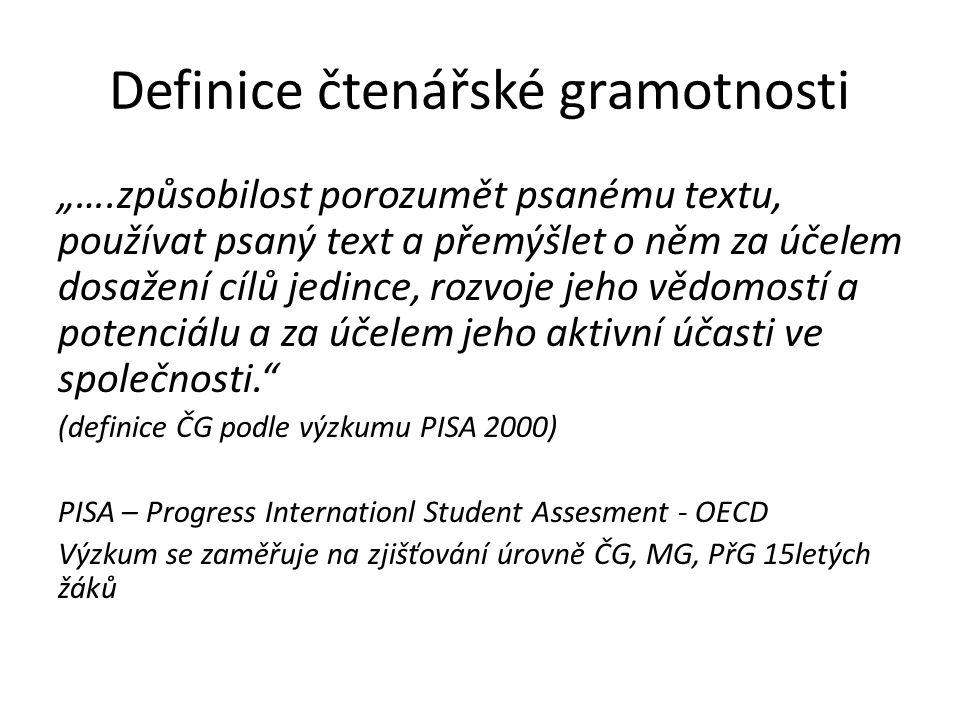 """Definice čtenářské gramotnosti """"….způsobilost porozumět psanému textu, používat psaný text a přemýšlet o něm za účelem dosažení cílů jedince, rozvoje"""