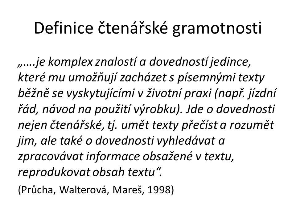 """Definice čtenářské gramotnosti """"….je komplex znalostí a dovedností jedince, které mu umožňují zacházet s písemnými texty běžně se vyskytujícími v živo"""