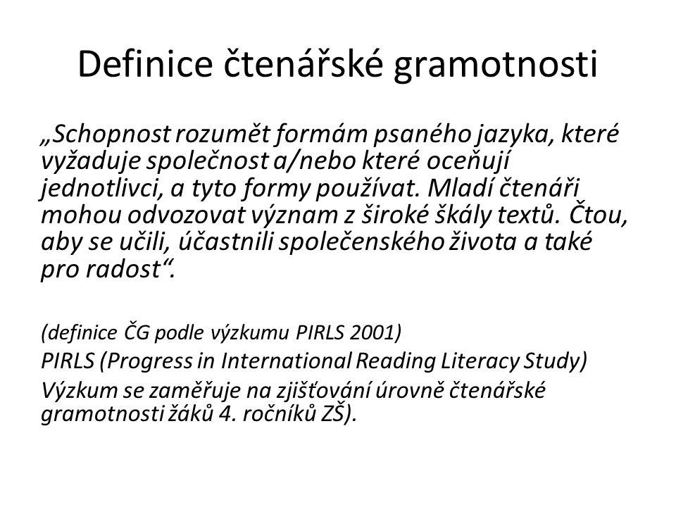 """Definice čtenářské gramotnosti """"Schopnost rozumět formám psaného jazyka, které vyžaduje společnost a/nebo které oceňují jednotlivci, a tyto formy použ"""