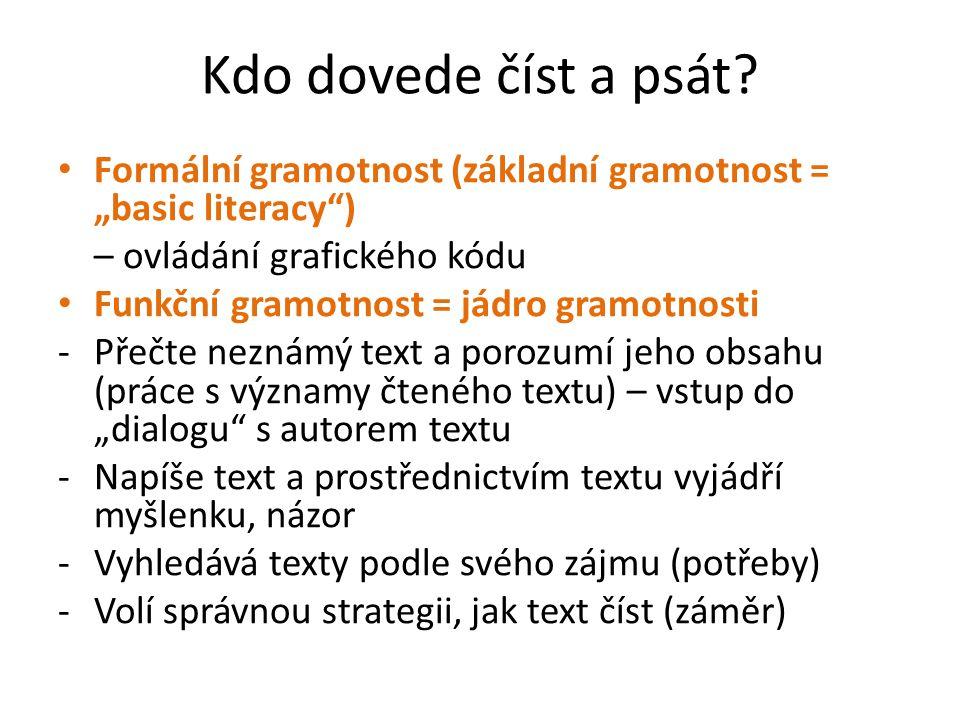 """Kdo dovede číst a psát? Formální gramotnost (základní gramotnost = """"basic literacy"""") – ovládání grafického kódu Funkční gramotnost = jádro gramotnosti"""