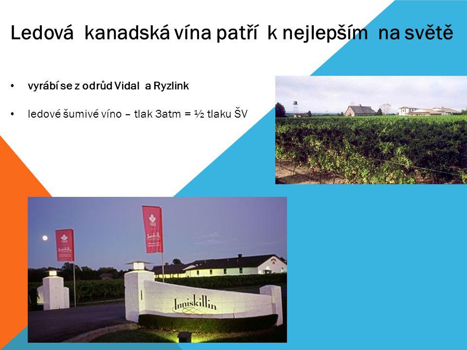 vyrábí se z odrůd Vidal a Ryzlink ledové šumivé víno – tlak 3atm = ½ tlaku ŠV Ledová kanadská vína patří k nejlepším na světě