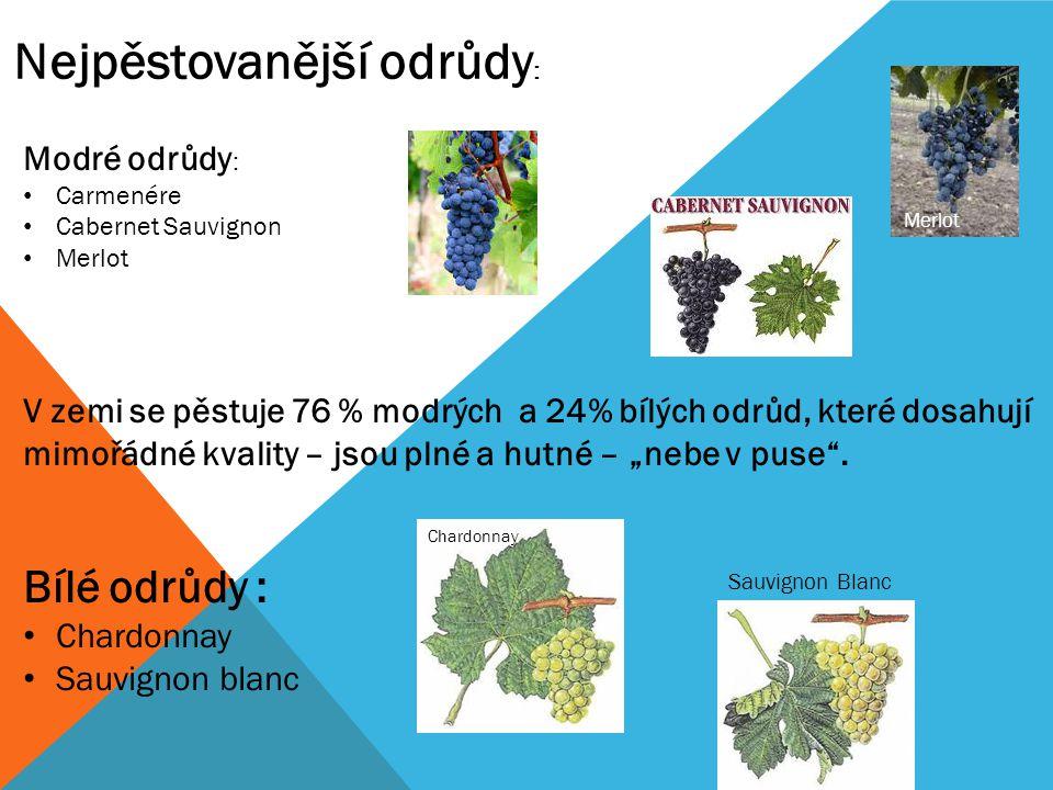 Modré odrůdy : Carmenére Cabernet Sauvignon Merlot V zemi se pěstuje 76 % modrých a 24% bílých odrůd, které dosahují mimořádné kvality – jsou plné a h