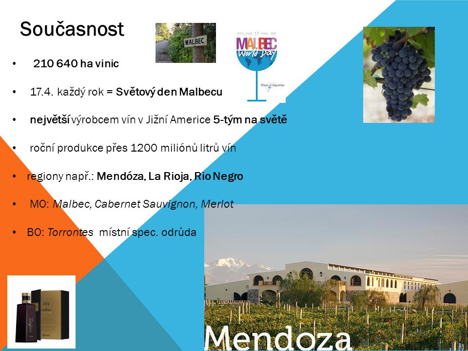 210 640 ha vinic 17.4. každý rok = Světový den Malbecu největší výrobcem vín v Jižní Americe 5-tým na světě roční produkce přes 1200 miliónů litrů vín