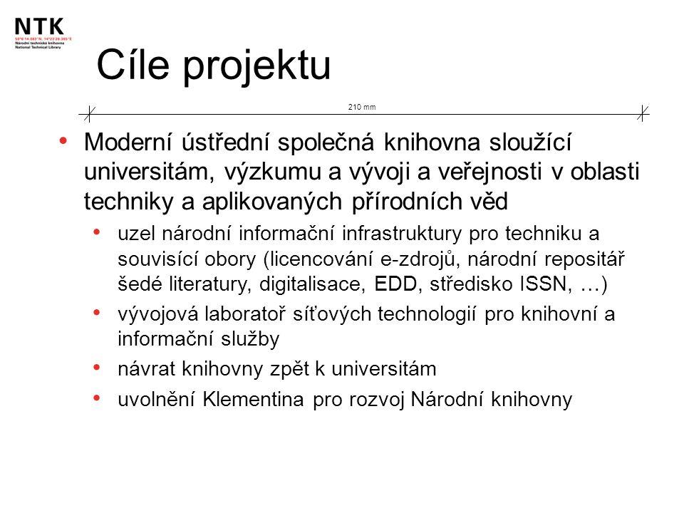 Data projektu 210 mm 2000/06 – vládní usnesení - projekt NTK schválen 2001/01 – Architektonická soutěž – vítězem Projektil 2001/07 – Memorandum o společném zájmu ČVUT-STK-VŠCHT 2004/02 – vládní usnesení – způsob financování 2004/04 – soutěž na projektanta, začátek prací 2004/10 2006/06 – získána povolení, soutěž na dodavatele 2006/10 – první výkop 2008/12 – převzetí budovy 2008/05-07 – stěhování 2009/09/09 – otevření NTK veřejnosti