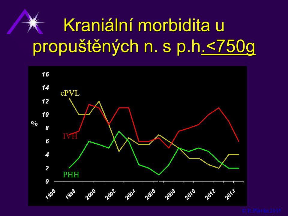 Kraniální morbidita u propuštěných n. s p.h.<750g cPVL IVH PHH © R.Plavka 2015