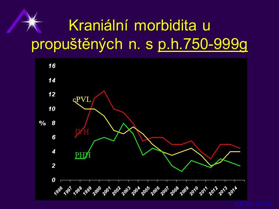 Kraniální morbidita u propuštěných n. s p.h.750-999g cPVL IVH PHH © R.Plavka 2015