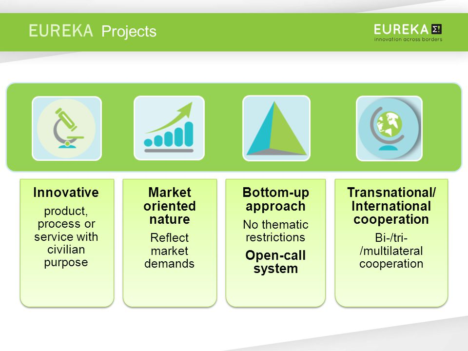 EUREKA Innovative product, process or service with civilian purpose Market oriented nature Reflect market demands Bottom-up approach No thematic restrictions Open-call system Transnational/ International cooperation Bi-/tri- /multilateral cooperation Projects