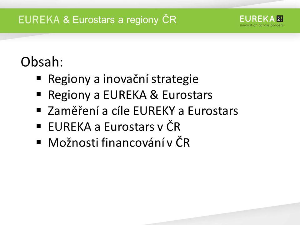 EUREKA Obsah:  Regiony a inovační strategie  Regiony a EUREKA & Eurostars  Zaměření a cíle EUREKY a Eurostars  EUREKA a Eurostars v ČR  Možnosti financování v ČR & Eurostars a regiony ČR