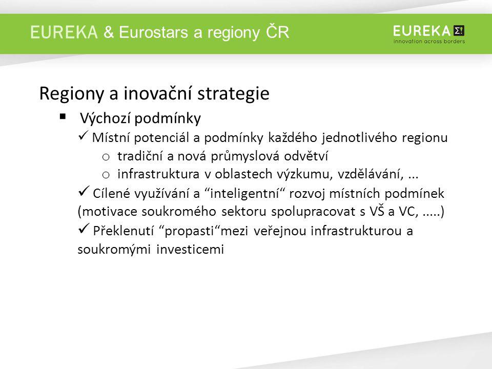 EUREKA Regiony a inovační strategie  Výchozí podmínky Místní potenciál a podmínky každého jednotlivého regionu o tradiční a nová průmyslová odvětví o infrastruktura v oblastech výzkumu, vzdělávání,...