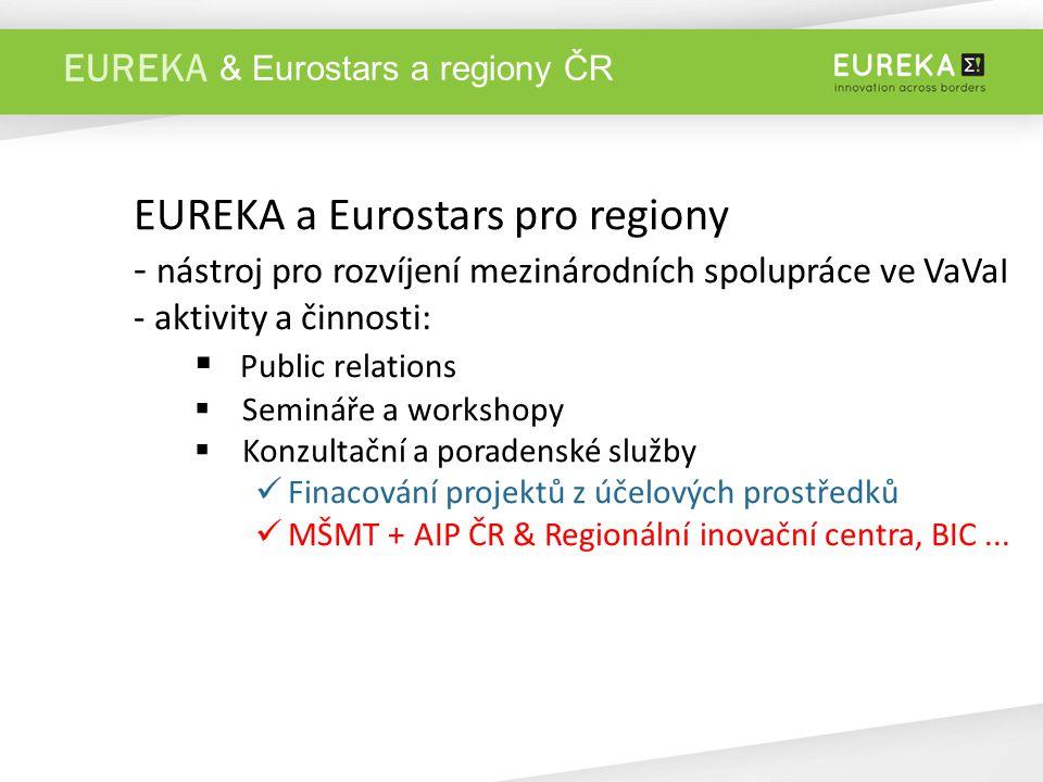 EUREKA EUREKA a Eurostars pro regiony - nástroj pro rozvíjení mezinárodních spolupráce ve VaVaI - aktivity a činnosti:  Public relations  Semináře a